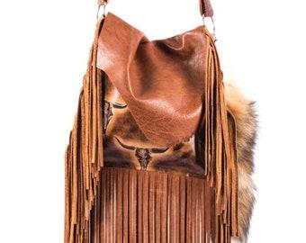 a77f97a78 Boho Western Distressed Cowhide Leather Fringe Handbag Rodeo Purse w/  Longhorn Steer