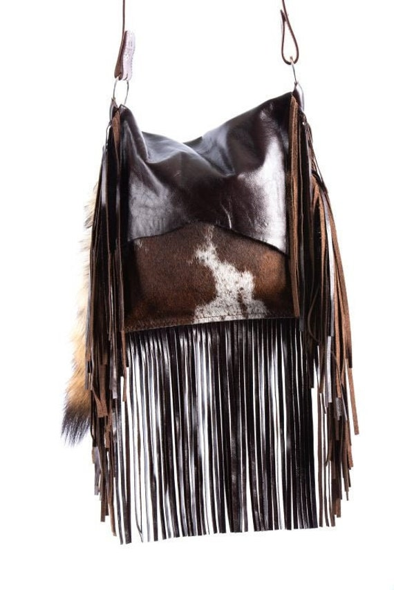 1473 Ready To Ship! Brindle Cowhide Western Distressed Leather Fringe Boho Handbag Rodeo Purse
