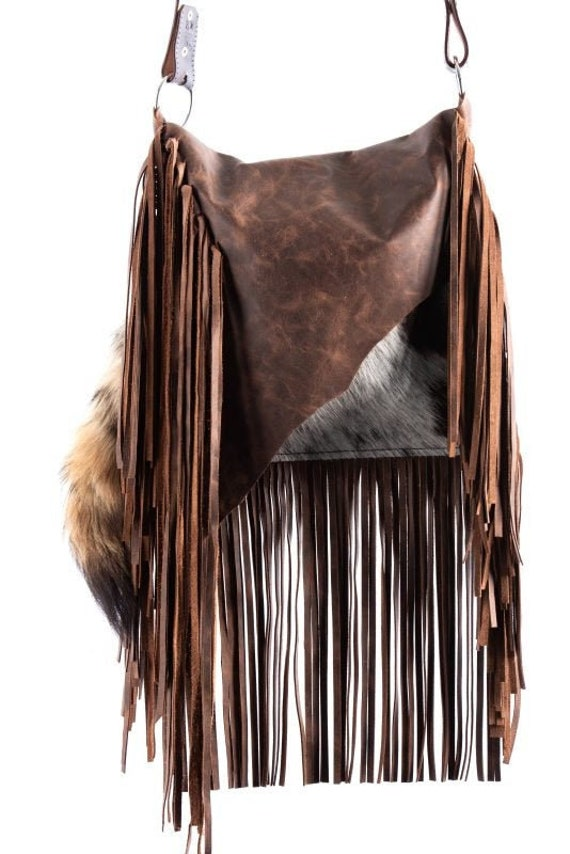1475 Ready To Ship! Brindle Cowhide Western Distressed Leather Fringe Boho Handbag Rodeo Purse