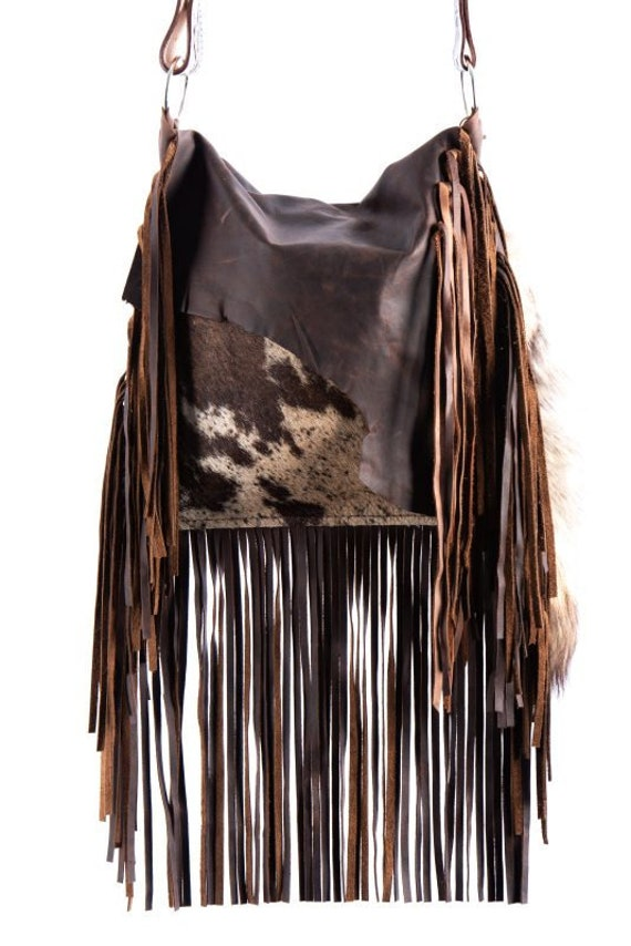 1474 Ready To Ship! Brindle Cowhide Western Distressed Leather Fringe Boho Handbag Rodeo Purse