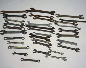 Lot of 32 Antique and Vintage Wrenches, Automotive Tools, Bicycle, Motorcycle, Workshop, Art Project, Industrial, Steampunk