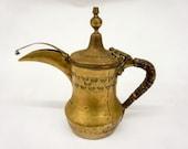 Antique Brass Middle Eastern Teapot, Turkish, Arabic, Arabian, Persian Tea Pot, Solid Brass, Engraved, Decoration, Unusual
