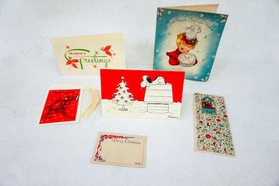 Snoopy Christmas Cards.6 Vintage Christmas Cards Snoopy Seasons Greetings Merry Christmas A Christmas Prayer X Mas Decoration Movie Prop