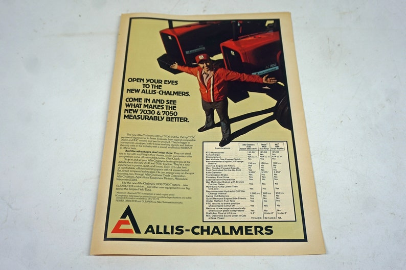 Original Vintage Allis-Chalmers 7030 & 7050 Advertising Agricultural  Ephemera, Magazine Cutout, Farming, MF, 1960's 1970's