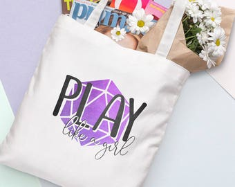 D20 Canvas Tote Bag - Play Like a Girl - Purple   Dungeons and Dragons, D&D, Nerd, Geek, Gaming, RPG, Gamer, DnD, Girl