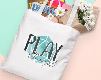 D20 Canvas Tote Bag - Play Like a Girl - Green   Dungeons and Dragons, D&D, Nerd, Geek, Gaming, RPG, Gamer, DnD, Girl