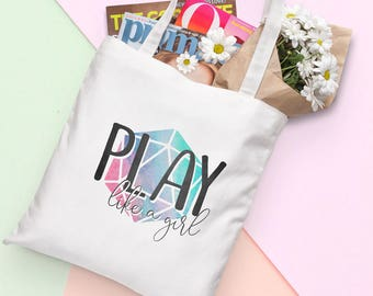 D20 Canvas Tote Bag - Play Like a Girl - Multicolor   Dungeons and Dragons, D&D, Nerd, Geek, Gaming, RPG, Gamer, DnD, Girl