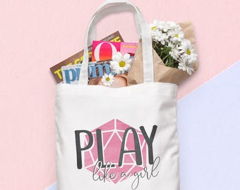 D20 Canvas Tote Bag - Play Like a Girl - Pink   Dungeons and Dragons, D&D, Nerd, Geek, Gaming, RPG, Gamer, DnD, Girl