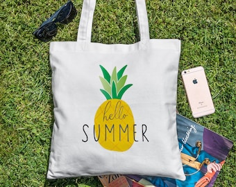 Hello Summer - Pineapple Tote Bag