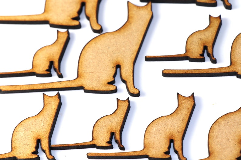 Wooden MDF Animal Sitting Kitten Cat Shapes Bunting Craft Woodworking Embellishment Decoration Dogs