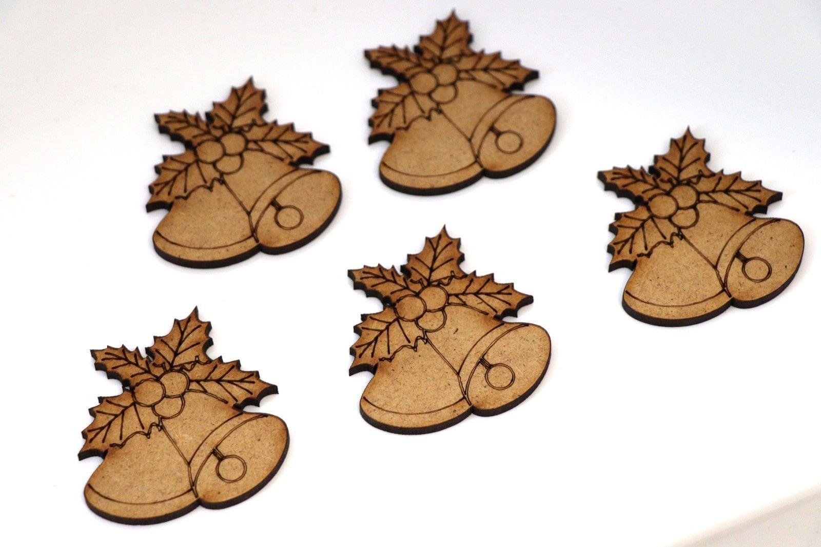 Wooden MDF Xmas Tree Bauble Blank Shape Bunting Craft Embellishments Decorations