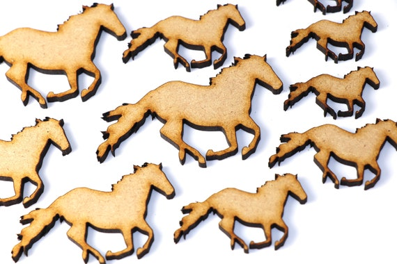 Wooden MDF Craft Shapes Animal Horse Galloping Bunting Embellishment Decoration