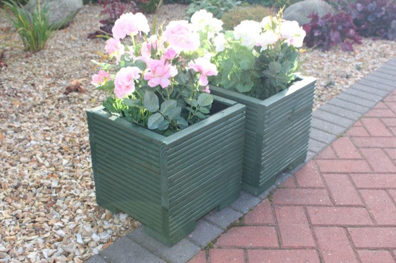 SQUARE WOODEN GARDEN PLANTER FLOWER PLANT POT BOX 32cm Ideal for Christmas Tree