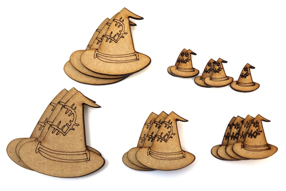 Wooden Party Bunting Halloween Witch-hat  Embellishments Craft Decorations MDF