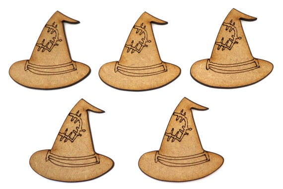 Wooden MDF Wizards Hat Shapes Bunting Craft Embellishments Halloween Decoration