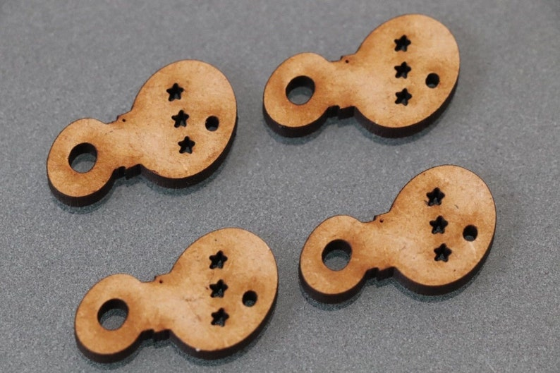 12 x Cute Baby Rattles Mdf Type Wooden Shapes Craft Embellishments Decoration