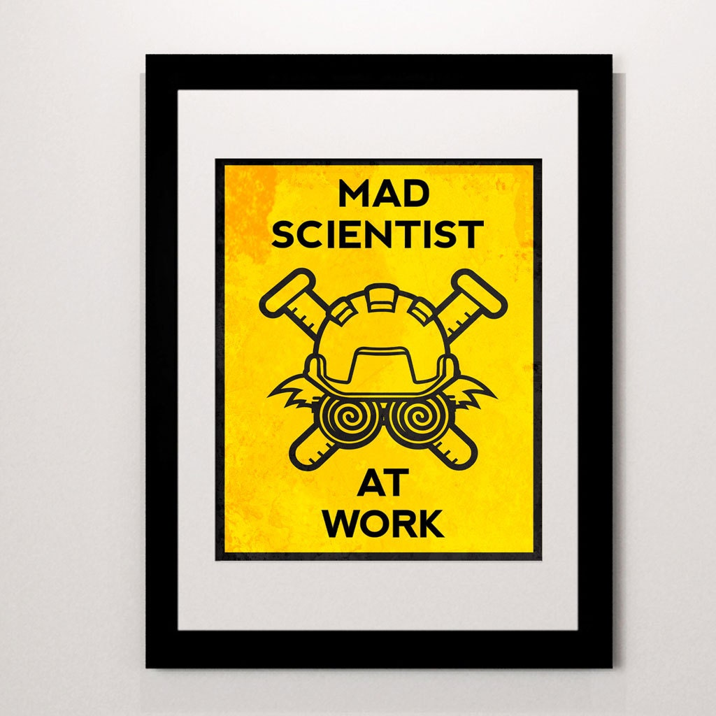 Mad Scientist at Work print do not disturb sign science wall