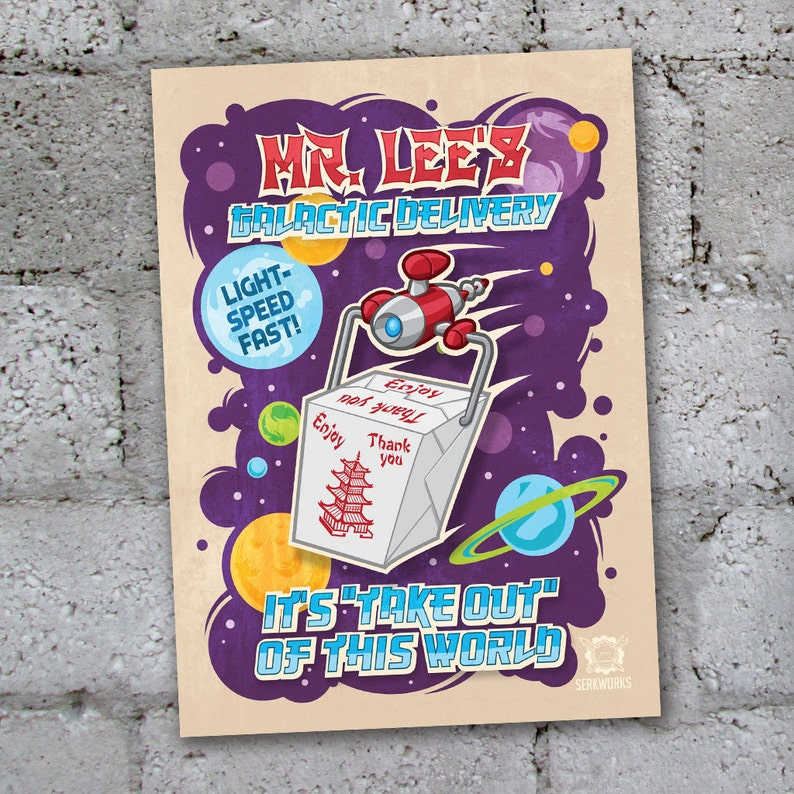 Mr  Lee's Galactic Delivery Postcard- Chinese food- Chinese take out-  delivery- space- rockets- sci-fi- futuristic- Chinese Restaurant