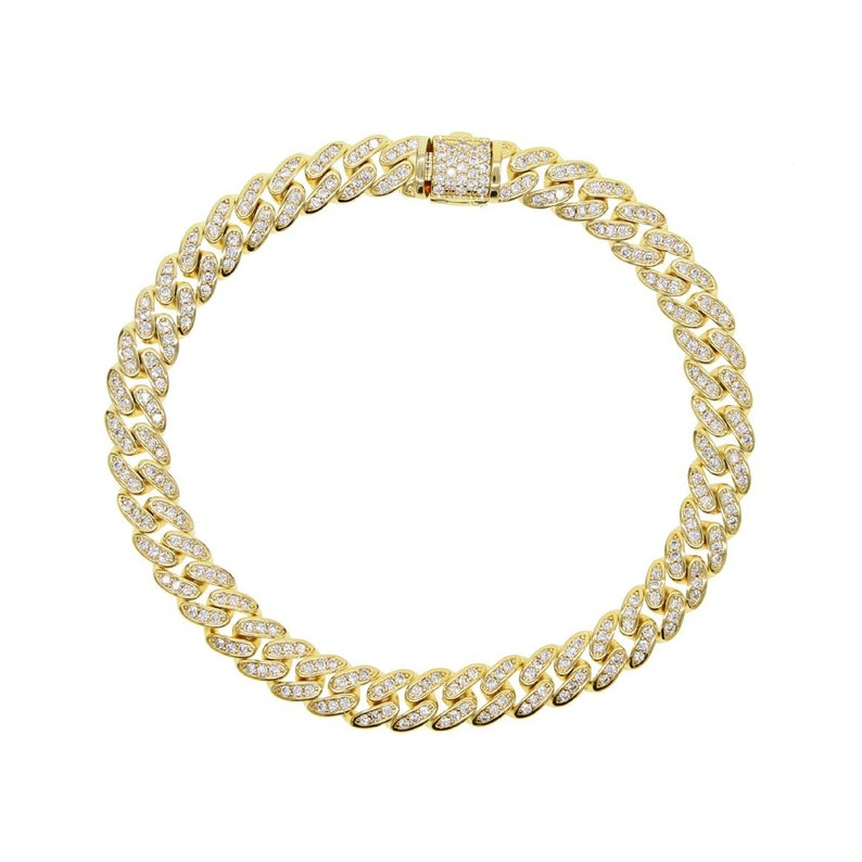 6.5mm cuban link chain Iced out bling cz cuban link chain bracelet for women mens hiphop jewelry gold silver