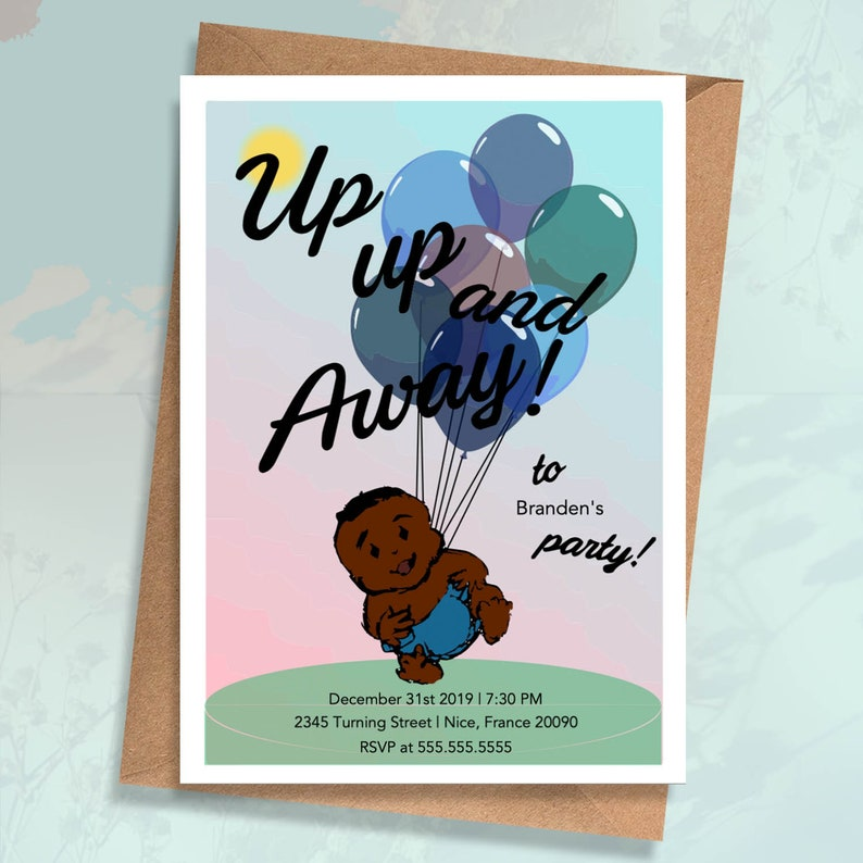 Baby Boy Birthday Invitation Card African American Art