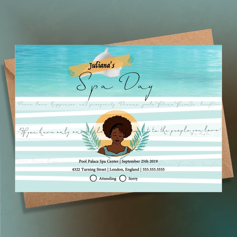 Spa Day Invitation Afro Art African American Invitation Cards Event Invite Printable Invitation Instant Download