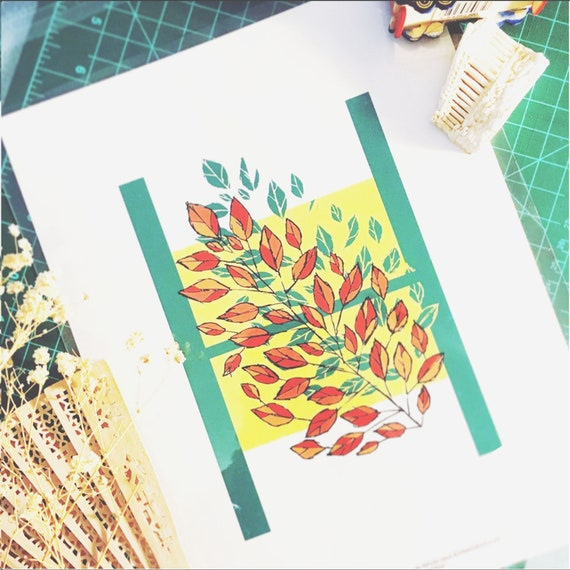Letter H wall art Alphabet Print Leaves Home decor 5x7 | Etsy