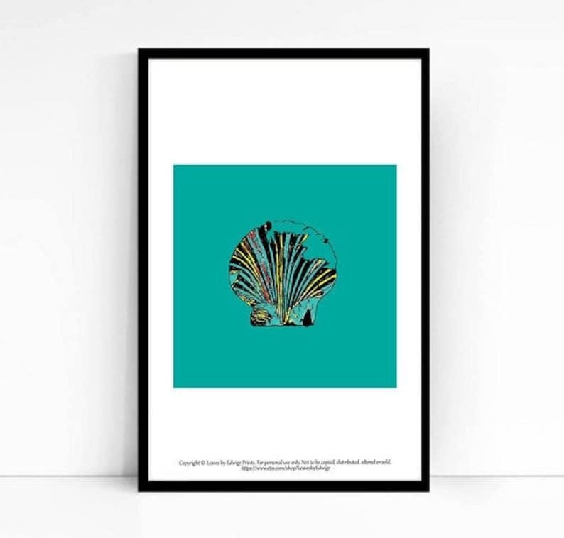 Printable Artwork - blue shell print- 5x5 art print - baby shower gift -  instant download art - ocean wall art print - beach house decor