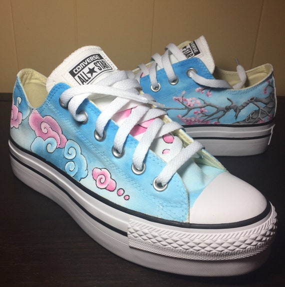 Hand painted Cherry Blossom and Clouds Converse by Deborah Kalantari My Heart and Soles