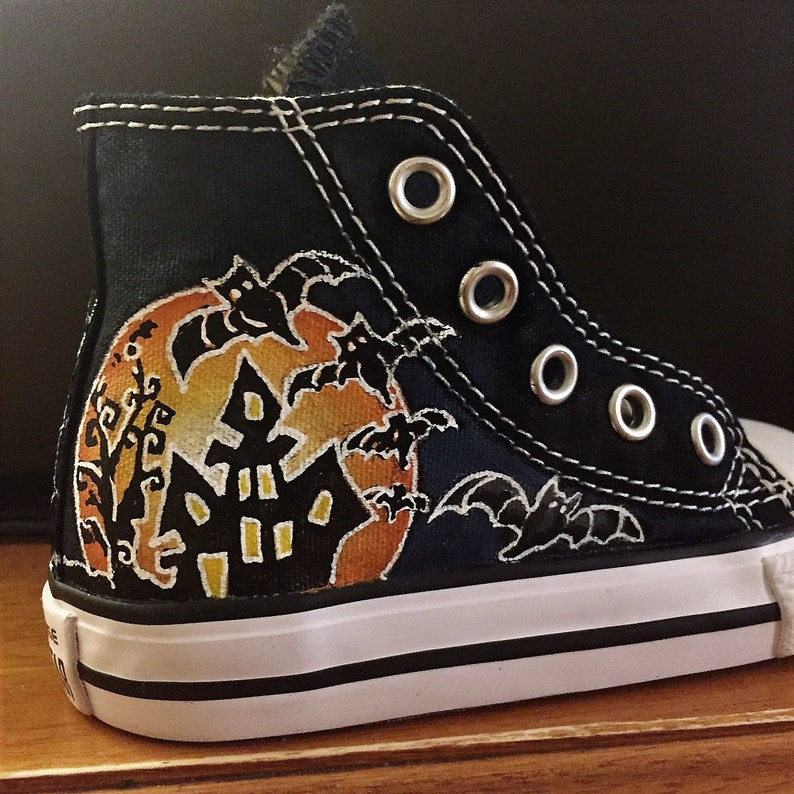 29d3cf6a3352e Hand painted High Top Converse for Toddlers or Little Kids - Halloween  Theme by Deborah Kalantari - My Heart and Soles