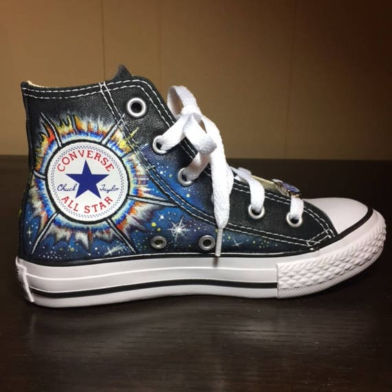 Hand painted High Top Converse for Little Kids Outer Space Theme by Deborah Kalantari My Heart and Soles