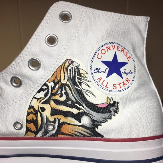 Hand painted tiger head high top Converse by Deborah Kalantari My Heart and Soles