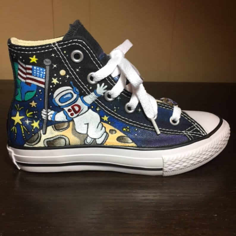641d925d09698 Hand painted High Top Converse for Little Kids - Outer Space Theme by  Deborah Kalantari - My Heart and Soles