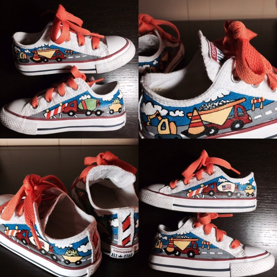 64eef42a202ce Hand painted Converse for Toddlers - Construction Site Theme by Deborah  Kalantari - My Heart and Soles