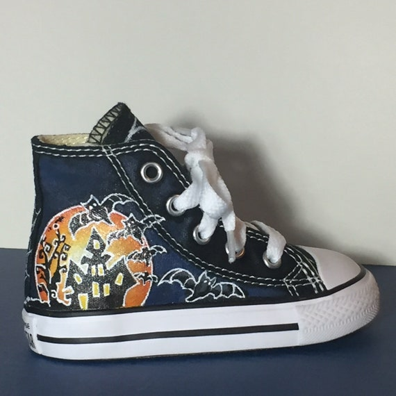 Hand painted High Top Converse for Toddlers or Little Kids Halloween Theme by Deborah Kalantari My Heart and Soles