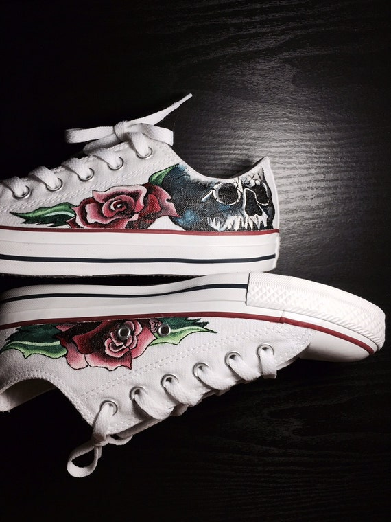 ba07eaa864fb8 Hand painted Skull and Roses Converse - by Deborah Kalantari - My Heart and  Soles