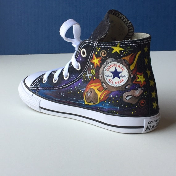 Hand painted High Top Converse Size 10 Infant (for a toddler) Outer Space Theme by Deborah Kalantari My Heart and Soles