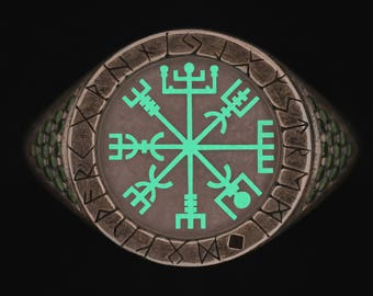 Glow Viking Rune Ring Vegvisir Ring Viking Ring Rune Compass norse ring viking rune jewelry viking norse jewelry women viking ring