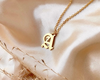 Gold Old English Letter Necklace,Cable chain,alphabet gothic Letter Necklace,cool jewelry,stylish,vintage letter necklace,vintage lettering