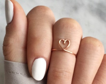 wow rose gold heart rings,fully adjustable,copper heart ring,for her,dainty jewelry,bridesmaid gift,valentines day gift,heart rings,boho