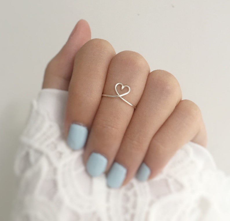 The 1 Heart Ringlayering tiny jewelryvery adjustcollege image 0