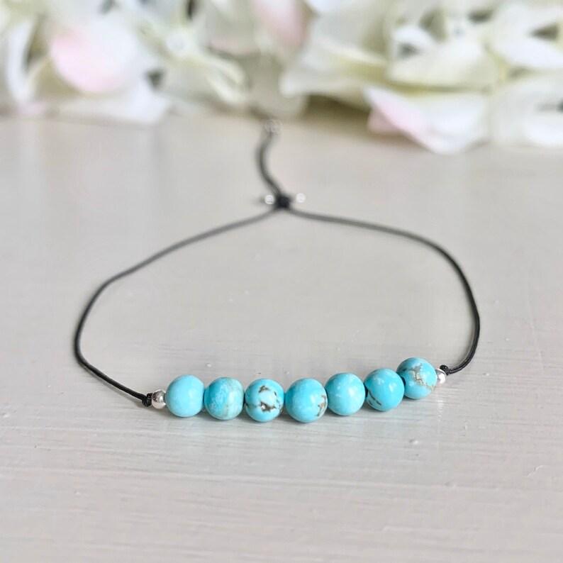 Gold or Silver Layering Bracelet -Remind Bracelet Blue Keepsake Bracelet Lucky 7 Bracelet Turquoise Bead Bracelet 7 Turquoise Bead