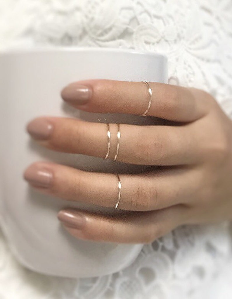 4 silver knuckle rings,midi ring set of 4,knuckle rings,adjustable silver bands,midi metal rings,stacking thin silver,gypsy,boho,custom made