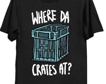 """Milk Crate Challenge Meme Shirt, Milk Crates Challenge Tee, Funny Milk Crate Pyramid Challenge with quote """"Where da Crates at?"""""""