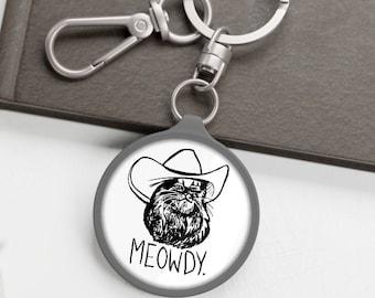Meowdy Cute Animal Keychains // Meowdy Key Fob // Meowdy Texas Cat Meme Gifts // Funny Howdy Meowdy Meme Mashup Keychain for Texan People