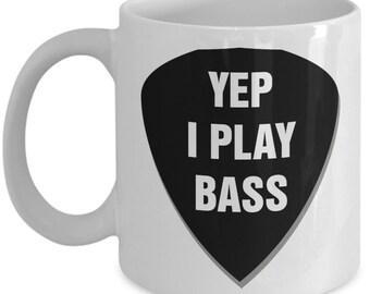 Bass player mug - Funny bass player mug gift - Bass guitar pick coffee cup