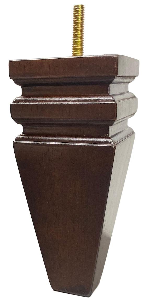 "Set of 4 5/"" Tall Leg Walnut Tapered Threaded Bolt Sofa//Couch//Chair Wood Legs"