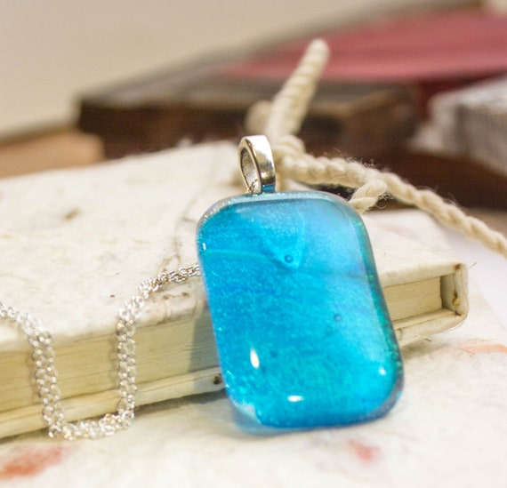 dichroic fused glass blue sparkling glittery pendant Joule necklace
