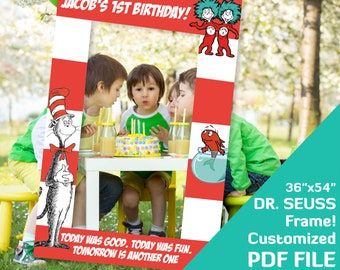 Dr Seuss Birthday Party Decor Photo Booth Frame 1st Decorations Baby Shower Photobooth Props 36x54 PDF File