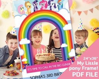 My Little Pony Photobooth Prop Party Birthday Decorations Photo Booth Frame Decor Pinkie Pie Rainbow Dash 24x36 Printable PDF File