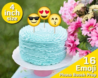 Printable Cake Topper Birthday Emoji Party 4 Inch 10th Decorations Sweet 16 2 Year Old Girl 3 Boy